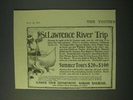 1900 Wabash Railroad Summer Tour Department Ad - St. Lawrence River Trip - $14.99