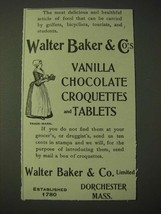 1900 Walter Baker & Co.'s Vanilla Chocolate Croquettes and Tablets Ad - $14.99