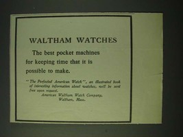1900 Waltham Watches Ad - Best For Keeping Time - $14.99