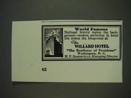 1933 Willard Hotel Ad - World Famous - $14.99