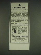 1933 The Willard Hotel Ad - A Bull's-Eye in convenience and comfort - $14.99