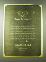 1943 Weatherhead Company Ad - Peace on Earth - $14.99