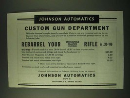 1945 Johnson Automatics Ad - Johnson Automatics Custom Gun Department - $14.99