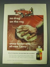 1958 Johnson's Wax Carnu Ad - No drag on the rag shine faster with all-new Carnu - $14.99
