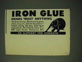 1943 McCormick Sales Co. Iron Glue Ad - Mends most anything - $14.99