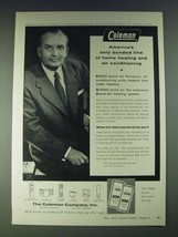 1958 Coleman Home Heating and Air Conditioning Ad - $14.99