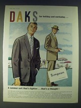 1958 DAKS Lightweight Worsted Suit Ad - DAKS for holiday and workday - $14.99