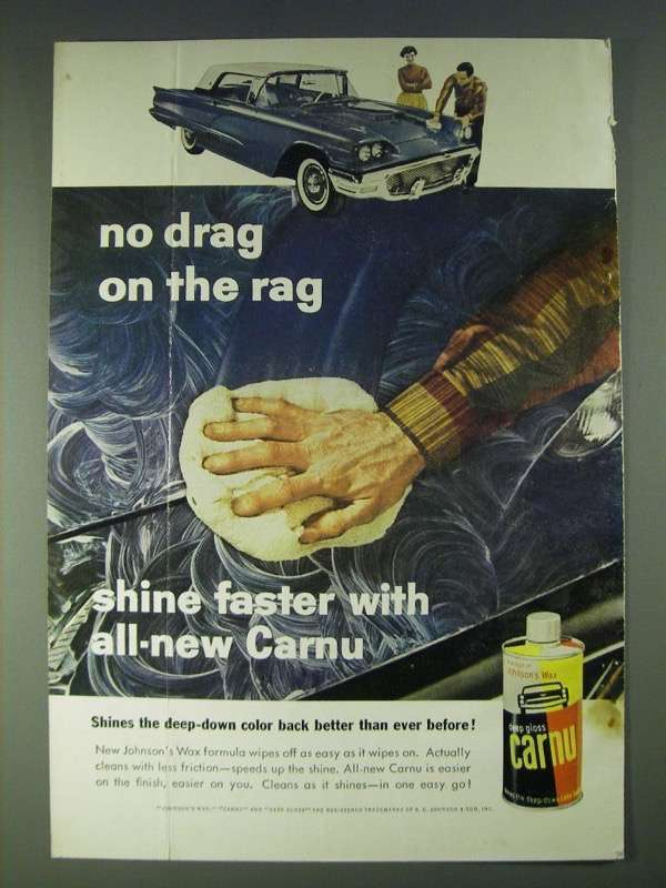 1958 Johnson's Wax Carnu Ad - No drag on the rag