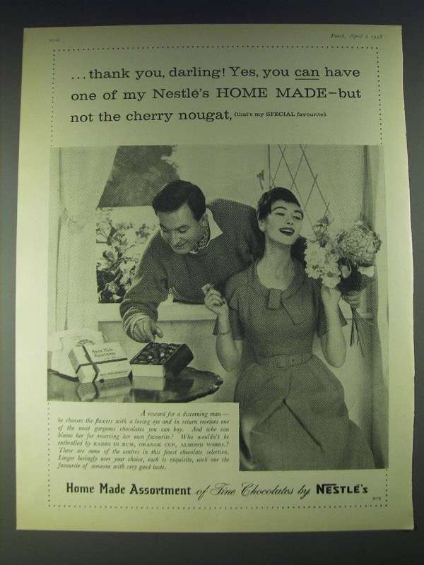 Primary image for 1958 Nestle's Home Made Assortment of Fine Chocolates Ad - thank you, darling!