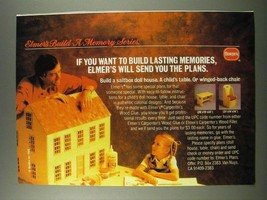 1986 Borden Elmer's Carpenter's Wood Glue and Filler Ad - Memories - $14.99