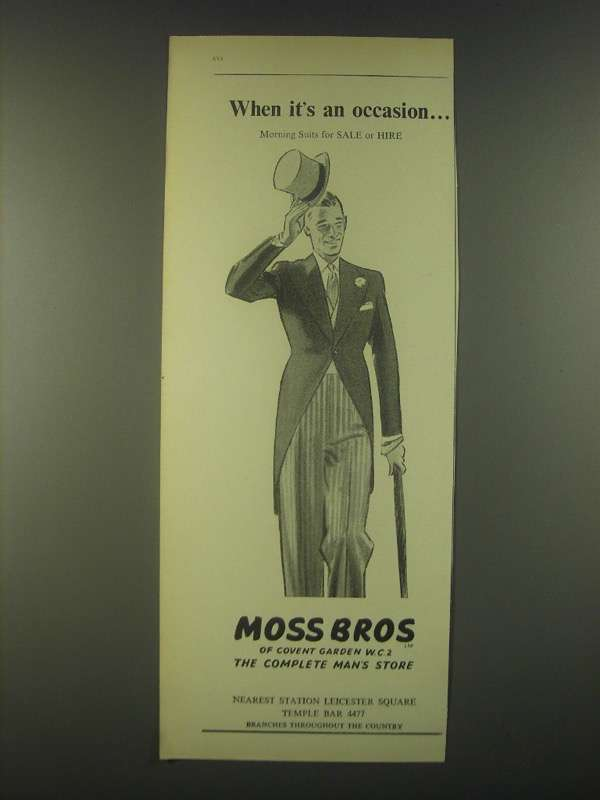 Primary image for 1959 Moss Bros Fashion Ad - When it's an occasion Morning Suits for Sale