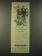 1959 Moss Bros Fashion Ad - Yes, Moss Bros certainly knows how to cut a suit - $14.99