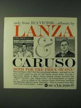 1960 RCA Victor Albums Ad - Lanza & Caruso  - $14.99
