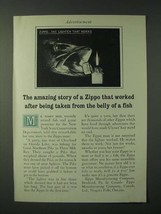 1960 Zippo Cigarette Lighter Ad -Taken From the Belly of a Fish - $14.99