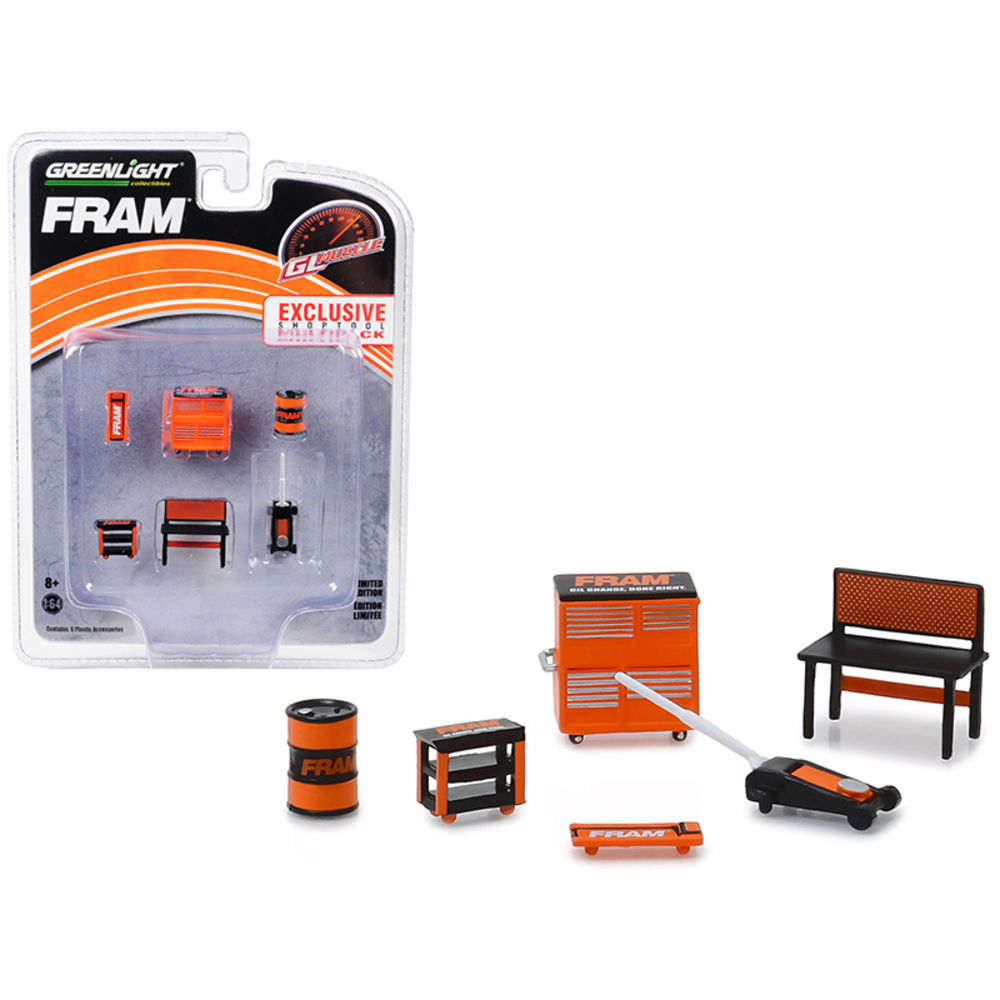 Greenlight Muscle 6 piece Set Shop Tools FRAM Oil Filters 1/64 by Greenlight 131 - $15.02