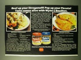 1983 Borden Wyler's Bouillon Ad - Meatball stroganoff & Chicken Piccata  - $14.99