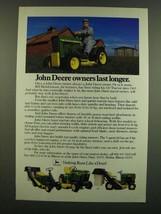 1983 John Deere Lawn Mowers Ad - John Deere Owners last longer - $14.99