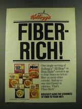 1983 Kellogg's Cereal Ad - Fiber-rich - $14.99