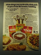 1983 McCormick/Schilling Ad - Chile Seasoning Mix, Spaghetti Sauce Mix - $14.99