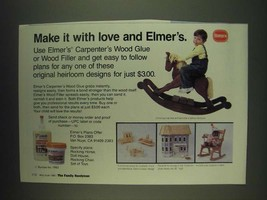 1985 Borden Elmer's Carpenter's Wood Glue Ad - Make it with love and Elmer's - $14.99