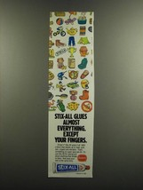 1986 Borden Stix-All Adhesive Ad - Stix-All glues almost everything - $14.99