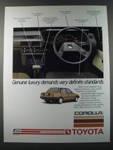 1986 Toyota Corolla Ad - Genuine luxury demands very definite standards - $14.99
