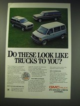 1987 GMC Suburban, Safari and S-15 Jimmy Ad - Do these look like trucks to you? - $14.99