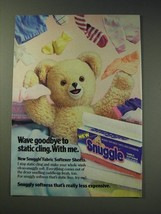1987 Snuggle Fabric softener Ad - Wave goodbye to static cling. With me. - $14.99