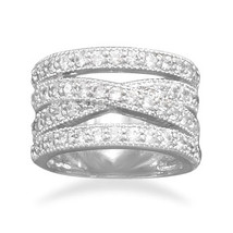 Wide Band Silver and CZ Ring - $119.95