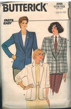 3066 Vintage Butterick Sewing Pattern Misses Loose Fitting Unlined Jacket 14 OOP - $6.92