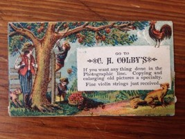 Antique Victorian Business Trade Card CH Colbys Photography & Violin Str... - $106.25