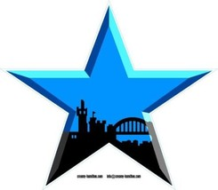 Newcastle Blue Star shaped vinyl sticker Geordie United 150mm - $4.08