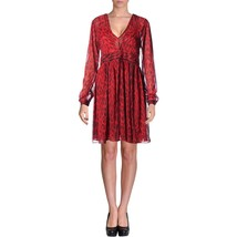 MICHAEL Michael Kors New Womens Red/Black Printed Ruched V-neck Dress 16 - $95.00