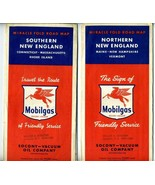 Socony Mobil Oil Co Miracle Fold Maps of Southern &  Northern New Englan... - $15.88