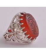 Islamic Engraved agate aqeeq aqiq Silver Men Ri... - $98.01
