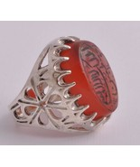 Islamic Engraved agate aqeeq aqiq Silver Men Ring-yemen-yemeni - $98.01