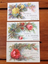Lot of 3 Antique Victorian Business Trade Floral Cards Dover NH JA Horne... - $12.74