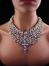 Moonstone Cross / statement necklace / Rhinestone collar / Pearl bib  wi... - $265.00