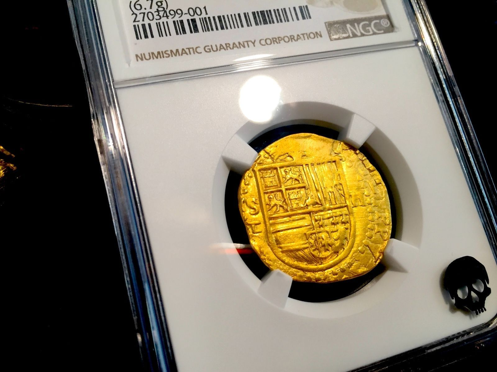 "Primary image for SPAIN 1556-98 2 ESCUDOS NGC 62 GOLD COB DOUBLOON ""INCREDIBLE LUSTER"" ATOCHA ERA"