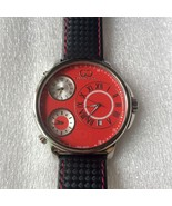Curtis & Co Big Time Classic 54mm 3-Time Zone Stainless Steel Watch Red ... - $450.00