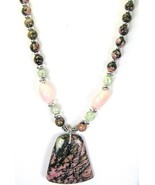 Rhodonite Key Stone Pendant with Moss Agate + P... - $107.07