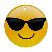 Cool Shades Emoji Emoticon Round Ornament with Ribbon Hanger - $7.38