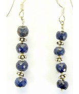 Rich Blue Sapphire Sterling Silver Dangle Earri... - $62.33