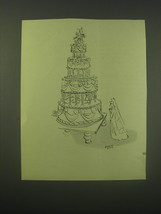 1952 Cartoon by Quentin Blake Ad - Groom Trapped in Cake - $14.99