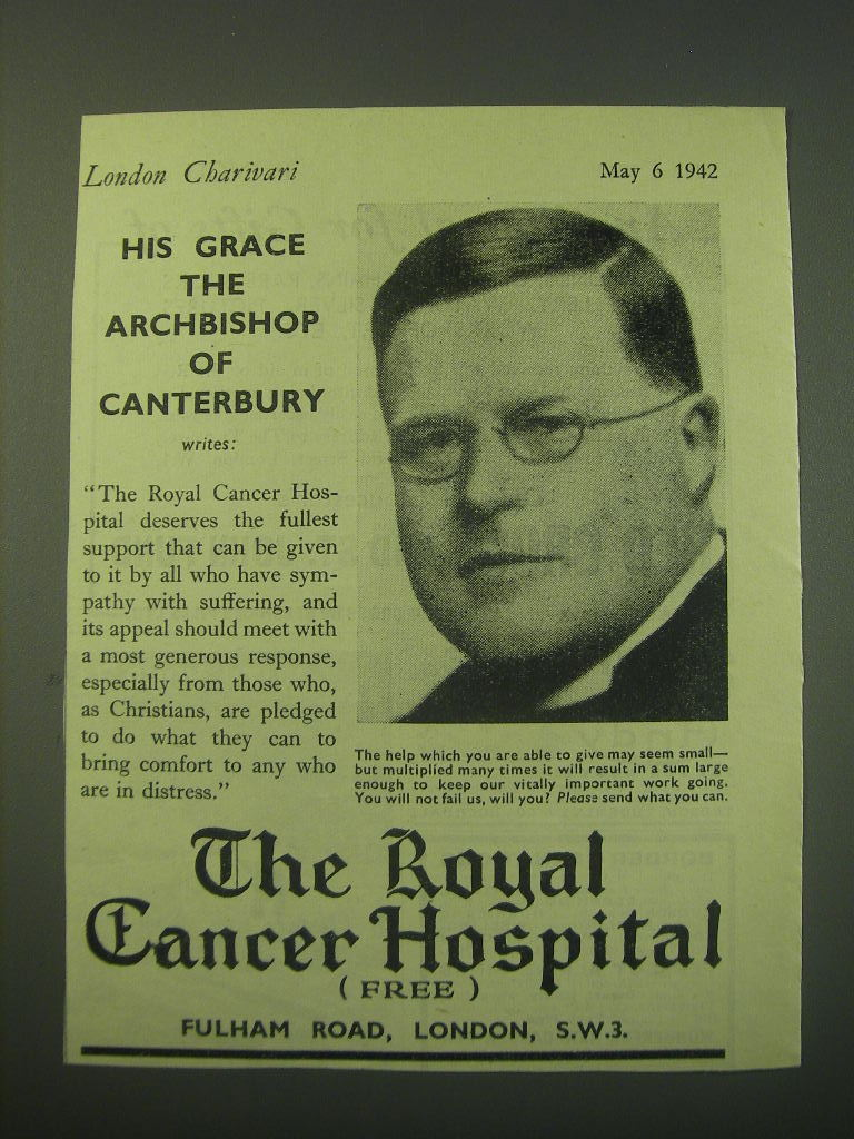 Primary image for 1942 The Royal Cancer Hospital Ad - His Grace the Archbishop of Canterbury