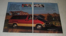 1989 2pg Ford Aerostar Van Ad - Ford's new extended-length Aerostar - $14.99