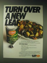 1989 Del Monte Whole Leaf Spinach Ad - Recipe for Quick Spinach Medley - $14.99
