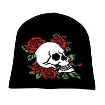 NEW PUNK ROCK WINTER SKI SNOWBOARDING HAT CAP ~ BLACK SKULL ROSES BEANIE... - $5.96 CAD
