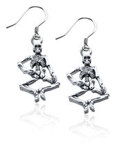 Skeleton Charm Earrings in Silver #1184S-ER - $442,65 MXN