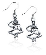 Skeleton Charm Earrings in Silver #1184S-ER - £17.17 GBP